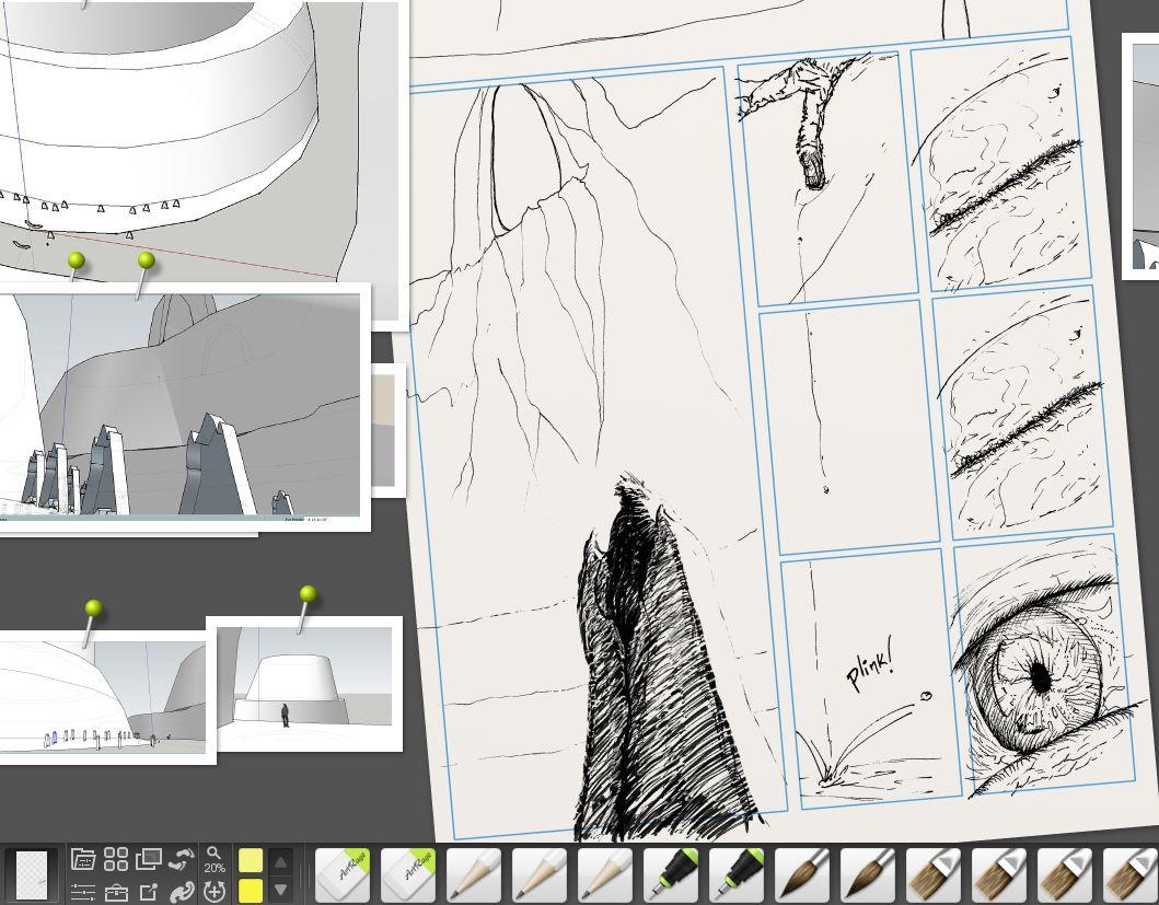 Screenshot of inking comics, analog and digital