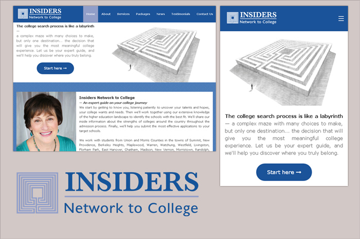 Website by camilo graphics for Insiders Network to College